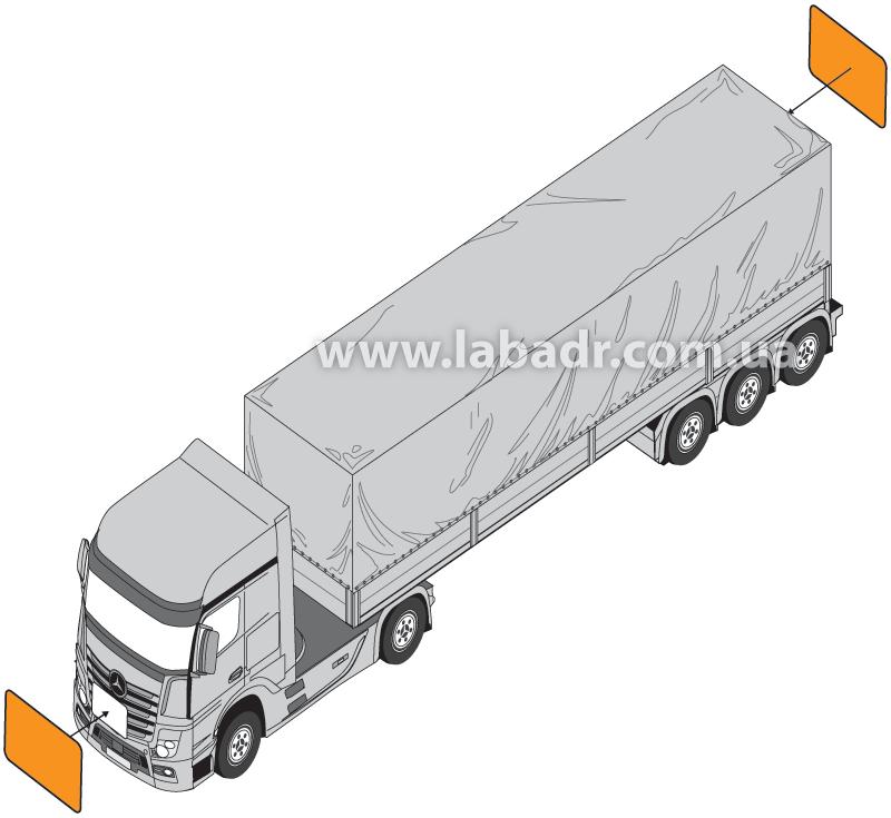 Маркировка транспортных средств при перевозке опасных грузов в упаковках